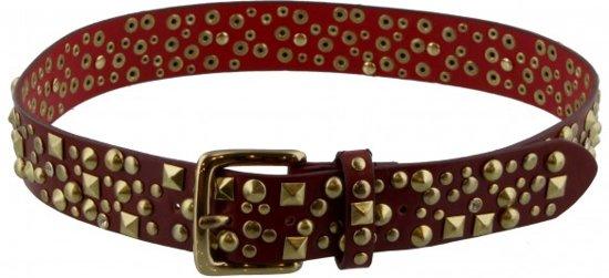 Riem - Rood - Leer/Leder - Studs - 85cm - Dielay