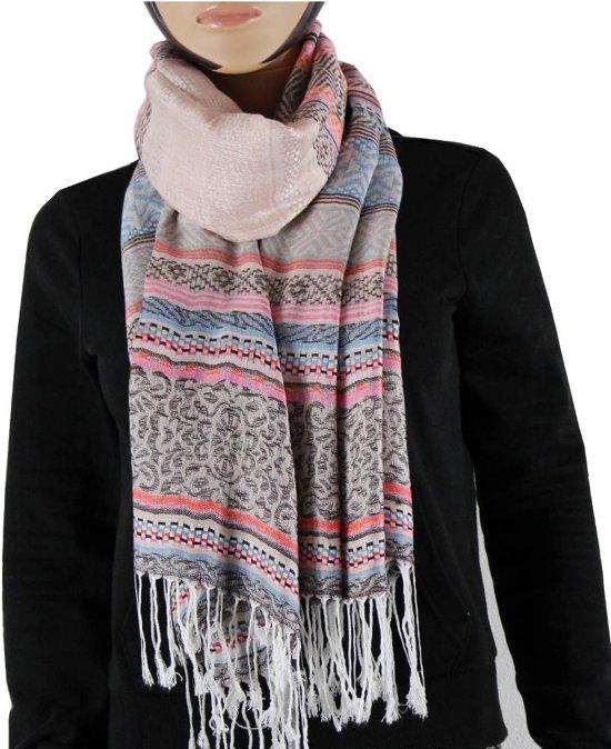 Sjaal 100% Pashmina Roze Multi Color