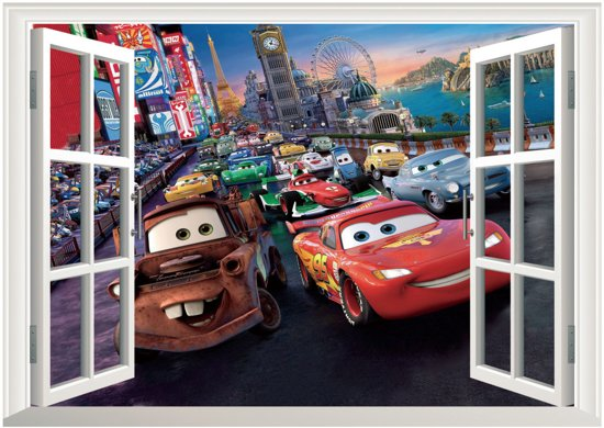 Cars Muurstickers Kinderkamer.Muursticker 3d Cars Film Woondecoratie Raam