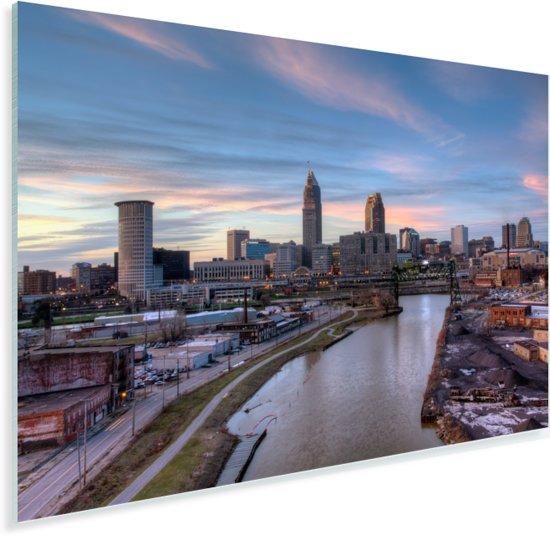 Stadsgezicht van het Amerikaanse Cleveland bij zonsondergang Plexiglas 30x20 cm - klein - Foto print op Glas (Plexiglas wanddecoratie)