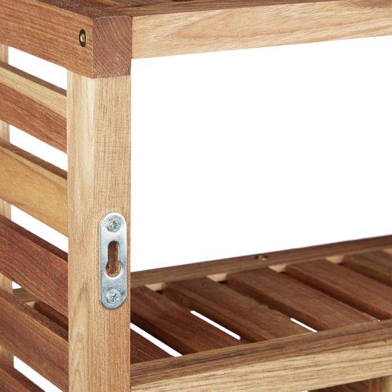 Plank Voor Aan De Muur.Badkamerrek Relaxdays Houten Wandrek 5 Vakken Wandplank