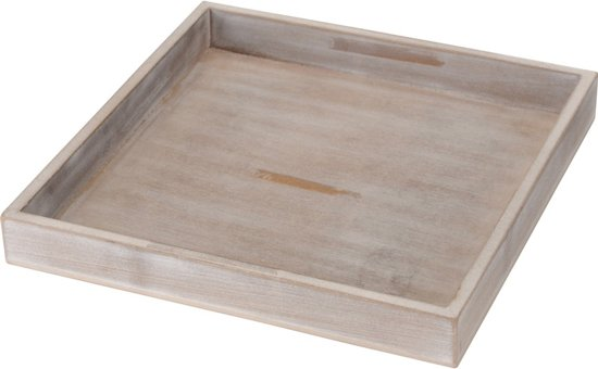 Houten plateau / dienblad antiek grijs 25 x 25 cm
