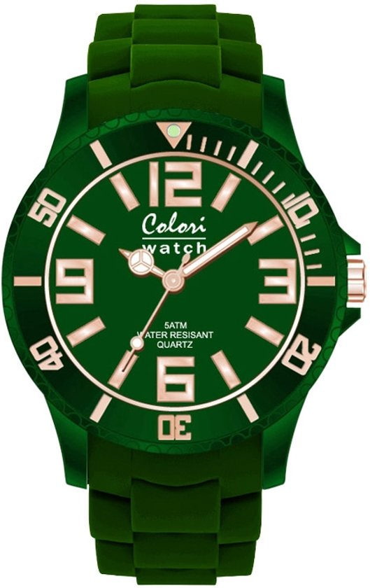 Colori Classic Chic 5 COL135 Horloge - Siliconen Band - Ø 40 mm - Donker Groen
