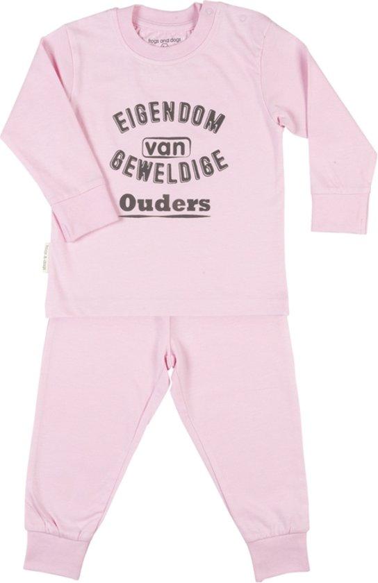 Frogs and Dogs pyjama eigendom van geweldige ouders Roze maat 86