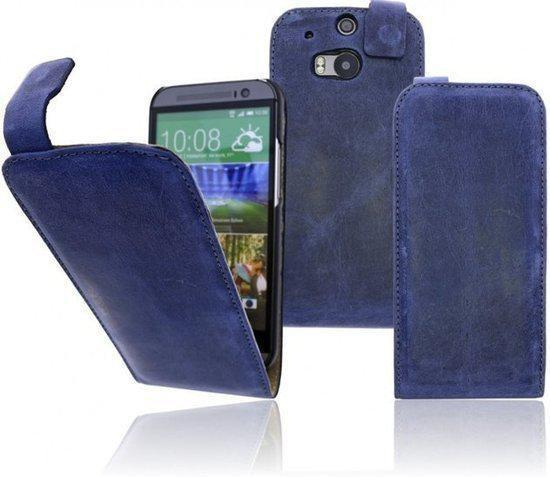 Htc One M8 Bookcase.Devills Crazy Lederen Flip Case Htc One M8 Hoesje Crazy Blue