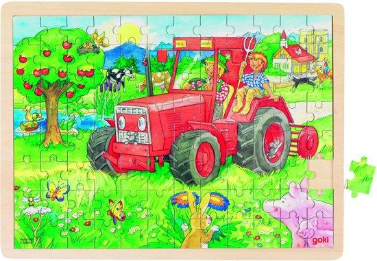 Goki Puzzel: op de tractor 96-delig