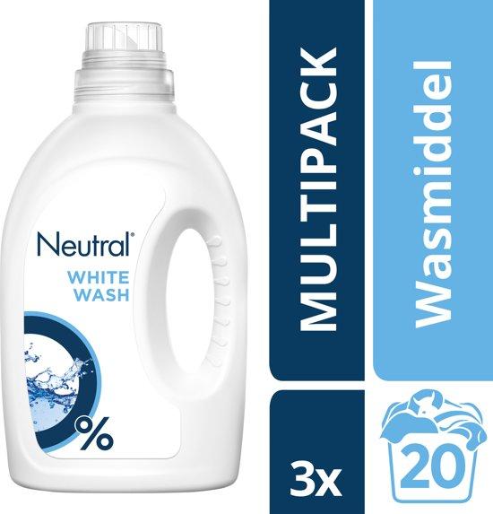 Neutral 0% Parfumvrije Wasmiddel Wit - 60 wasbeurten - 3 x 1 l