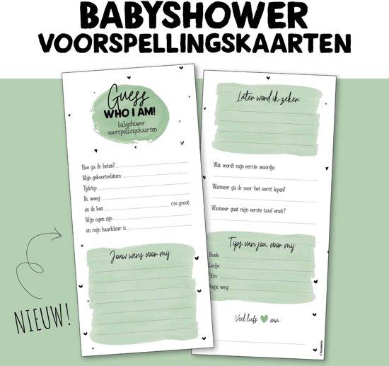 Babyshower voorspellingskaarten | invulkaarten groen