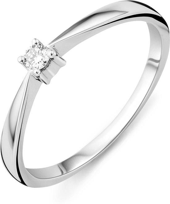 Majestine 9 Karaat Solitair Ring Witgoudkleurig (375) met Diamant 0.05ct maat 54