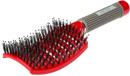 Massage & Antiklit Haarborstel  - Rood/Grijs