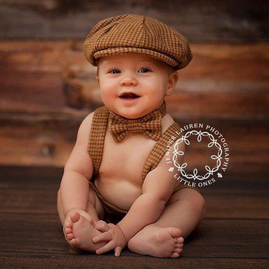 Four Tiny Cousins Arthur Set Retro Babykleding Jongens Brown Houndstooth-3 - 6 m