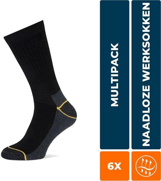6-Pack Stevige Worker Werksokken Stapp Yellow - Worker 4415.699 - Zwart - Unisex - Maat 43-46