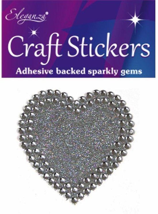 Stickers Hart Zilver Diamant met Glitters (per vel)