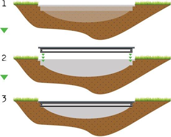 EXIT InTerra groundlevel trampoline ø305cm - grijs