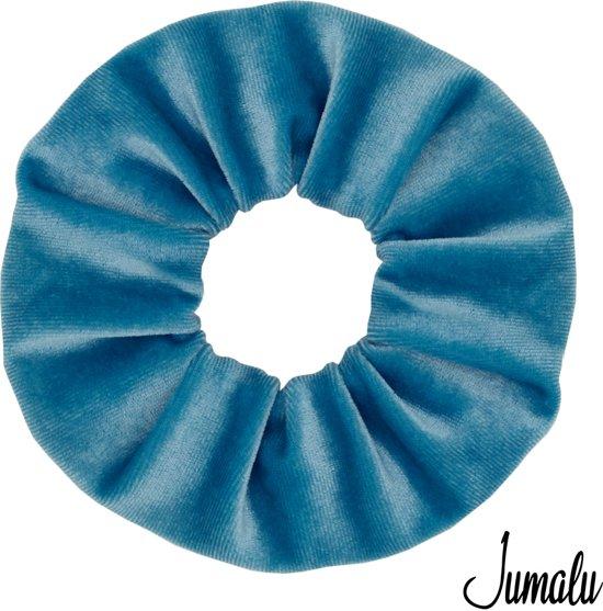 Jumalu scrunchie velvet haarwokkel haarelastiekjes - lichtblauw - 1 stuk
