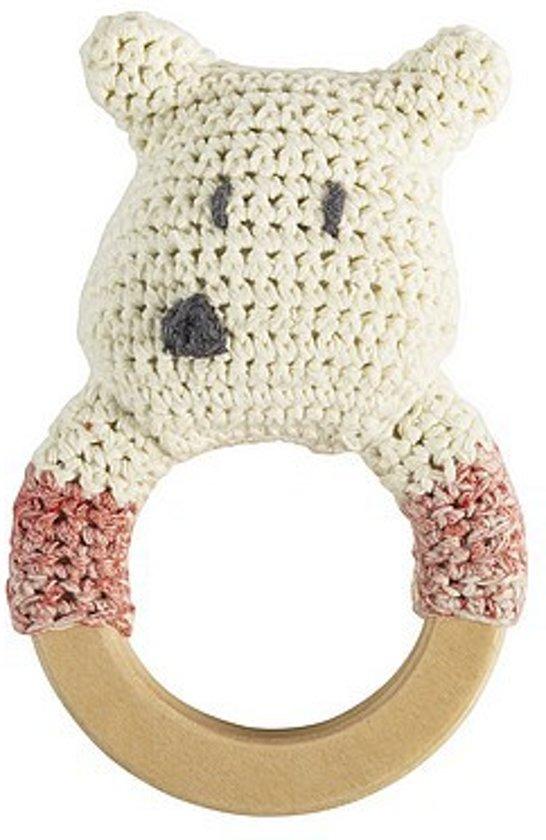 Sebra - Rammelaar gehaakte ijsbeer aan ring L13cm W8cm