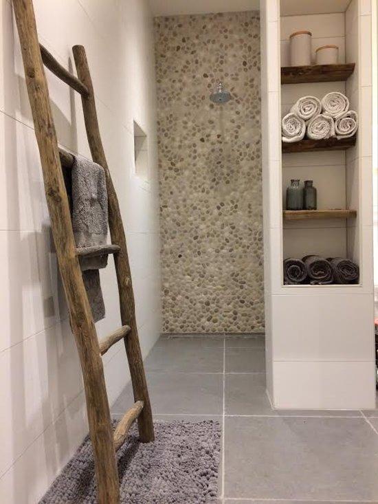 Houten decoratie ladder rustiek bruin 175 x 5 x 50 cm - Deco eetkamer rustiek ...