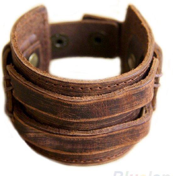 Brede Leren Armband – Scratch Brown - Twee Riemen