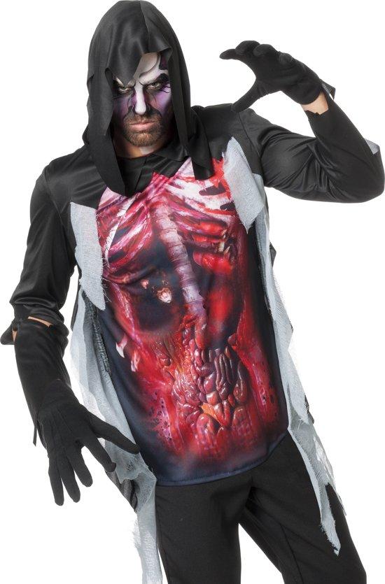 Zombie Kostuum | Shirt Zombie Open Buikwand Met Capuchon Man | Maat 58 | Halloween | Verkleedkleding