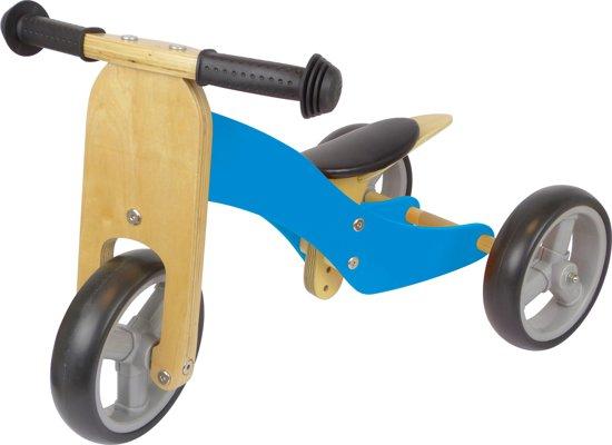 Driewieler Hout 2-in-1 Blauw - Loopfiets