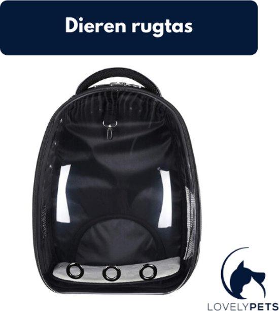 Lovely Pets™ Draagtas voor katten en (kleine) honden - rugtas voor huisdieren - reismand - transporttas - vervoersbox - dieren draagtas - Zwart