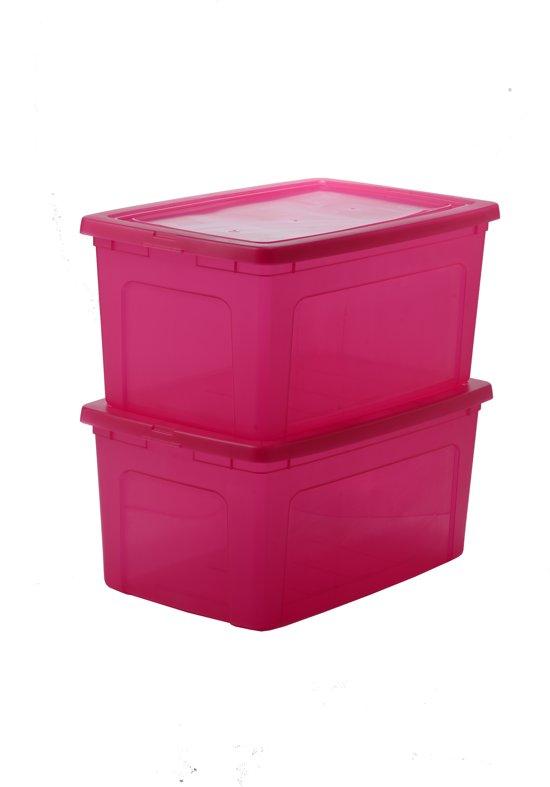 IRIS Clearbox Opbergbox - 50 l - Kunststof - Transparant roze - 2 stuks