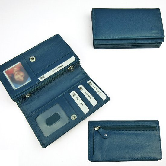 6ca41cda453 Double-D Overslagportemonnee - Harmonicaportemonnee - Leer - Jeans Blauw -  16 Pasjes - RFID Overslagportemonnee met pasfoto vakje