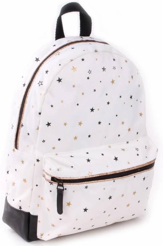 Kidzroom Black & Gold Stars Kinderrugzak Unisex - Wit - 36 cm hoog met zwarte en gouden sterren