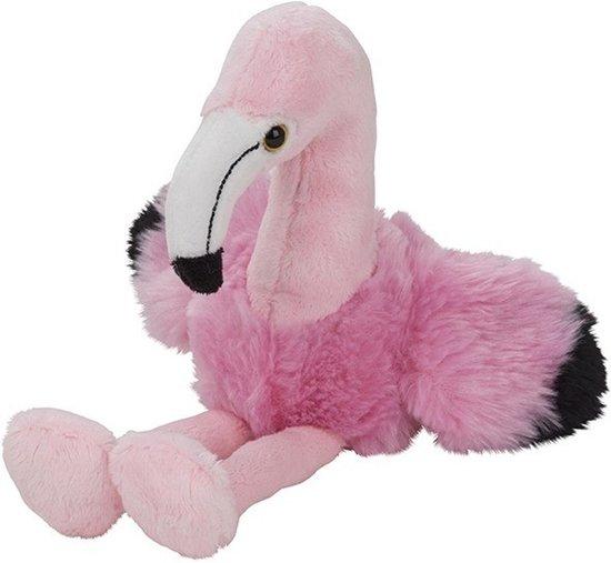 Pluche roze flamingo knuffel 17 cm - Flamingo dieren knuffels - Speelgoed voor kinderen