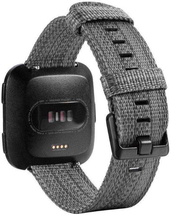 Nylon Horloge Band Voor Fitbit Versa (Lite) - Armband / Polsband / Strap Bandje / Sportband - Small/Large - Grijs