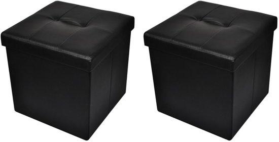 Opvouwbare - Poef - Zwart - 42 x 42 cm