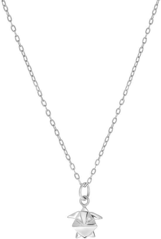 Lucardi Kettingen - Zilveren ketting&hanger schildpad origami