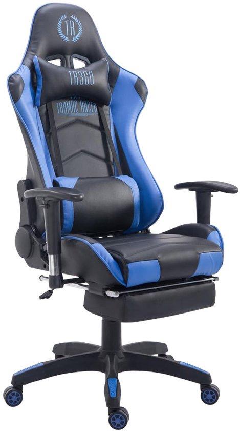 Clp Managerstoel TURBO directiestoel, Gaming chair met voetsteun, hoogte verstelbaar, ergonomisch, belastbaar tot 150 kg - zwart/blauw,