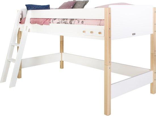 Bopita - Halfhoogslaper 90 x 200 cm - Jente - Met Comfort Step - Wit/Naturel