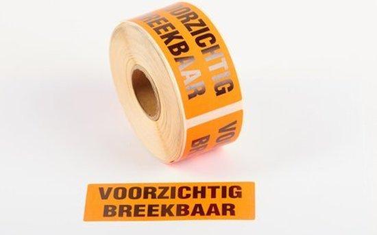 Waarschuwings Etiketten - Voorzichtig Breekbaar - 50 x 130mm - rol a 1,000 stuks