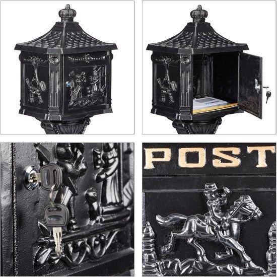 relaxdays staande brievenbus - antiek - vrijstaand nostalgisch - weerbestendig - roestvrij zwart