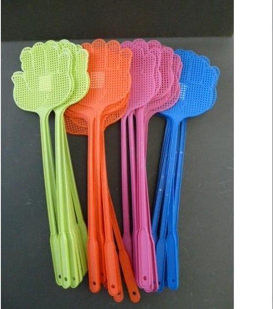 Vliegenmepper handje set van 4 verschillende kleuren