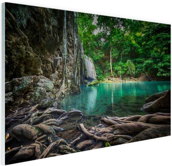 Erawan waterval in jungle Glas 120x80 cm - Foto print op Glas (Plexiglas wanddecoratie)