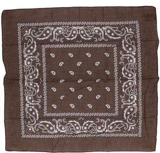 2x Bruine bandana zakdoek 55 x 55 cm