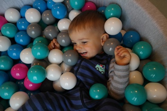 Zachte Jersey baby kinderen Ballenbak met 300 ballen,  - wit, grijs, turkoois