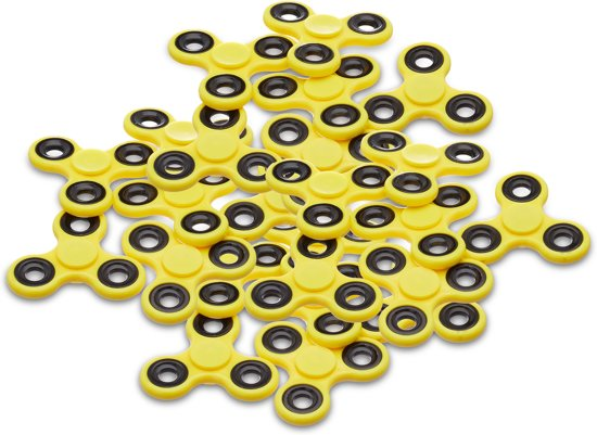 relaxdays 25 x Fidget spinner in het geel - tri-spinner - hand spinner - anti-stress