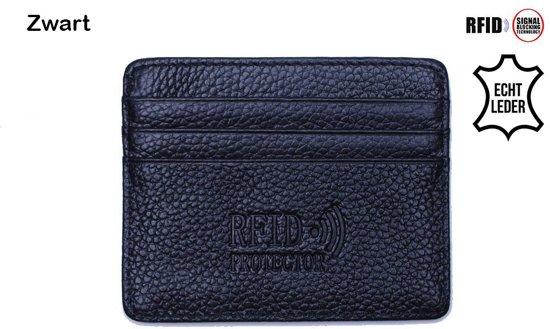 c6fd50a983e Lederen met RFID bescherming Pasjeshouder - Creditcardhouder - pasjes  portemonnee - Zwart