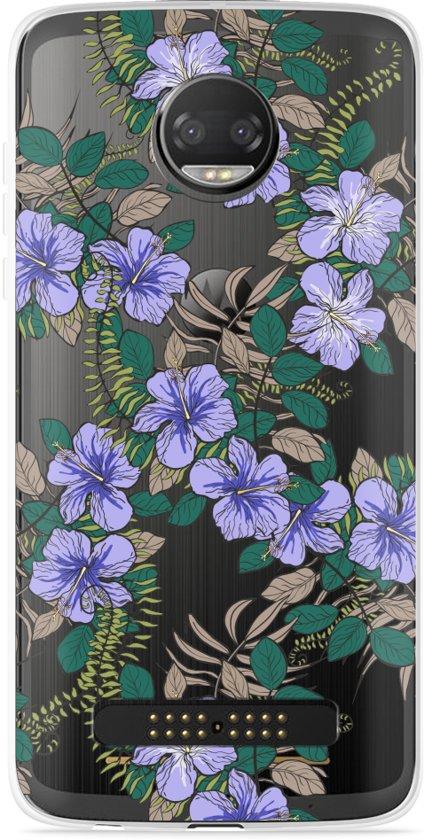 Motorola Z2 Force Hoesje Purple Flowers