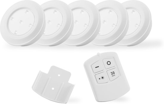 bol.com | Led spots draadloos Puck lights 5 stuks + ...