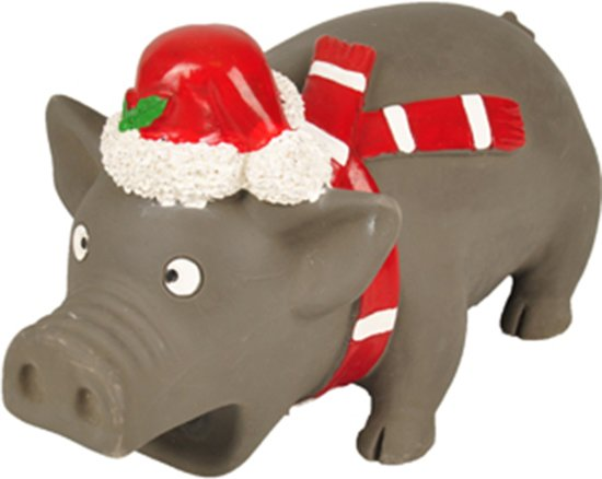Kerst hondenspeelgoed varken met kerstmuts 21cm