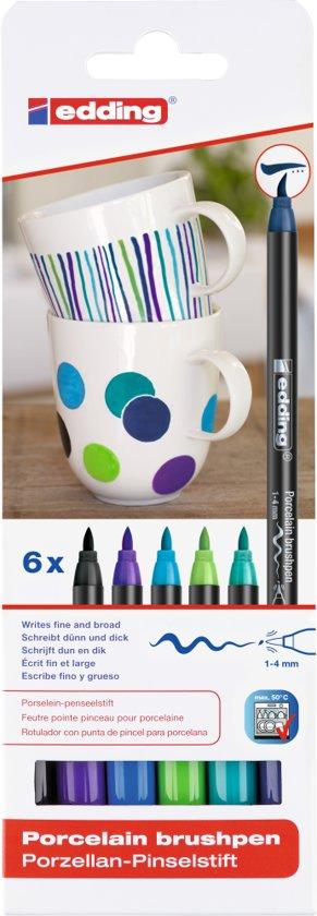 Edding porselein-penseelstift e-4200 cool set van 6