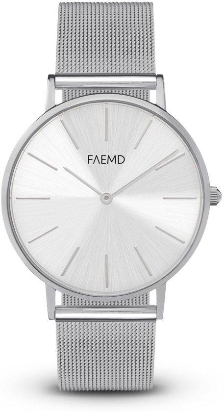 FAEMD Soleil Mesh Series - Horloge - Dames - Mesh - Classic Full Zilver - Ø 37 mm