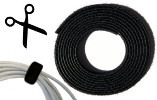 Klittenband Kabelbinder 16mm Back-to-Back 3 mtr Zwart 1 rol