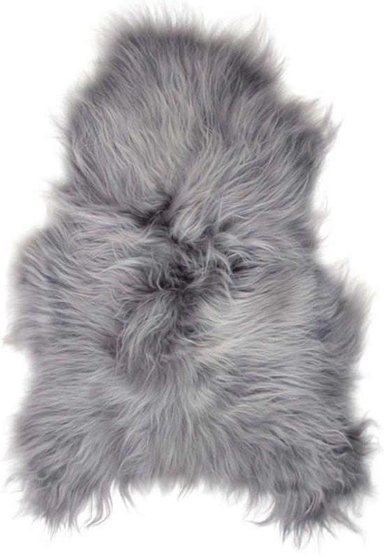 Schapenvachtje ZILVER GRIJS ARCTIC GLOW - IJslandse Schapenvacht - 125 x 60 cm – Van Nature Zeer Lang Haar - 100% ECHT Lamsvachtje
