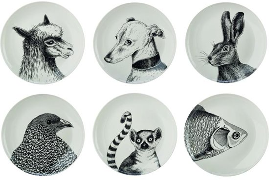Pols Potten Animals Borden Set van 6 Ã 24 cm